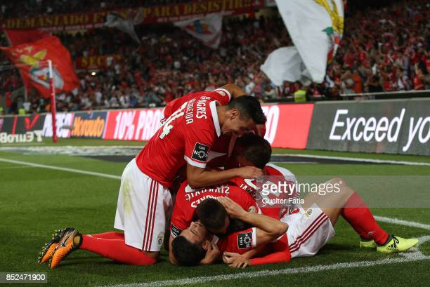Benfica forward Franco Cervi from Argentina celebrates with teammates after scoring a goal during the Primeira Liga match between SL Benfica and FC...