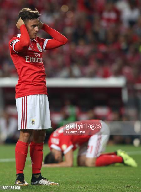 Benfica forward Franco Cervi from Argentina reaction after missing a goal opportunity during the Primeira Liga match between SL Benfica and FC Pacos...