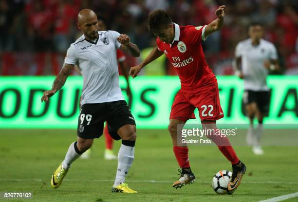 Benfica forward Franco Cervi from Argentina with Vitoria Guimaraes forward Rafael Martins from Brasil in action during the SuperTaca match between SL...