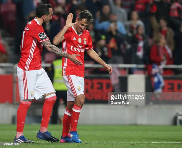 Benfica forward from Brazil Jonas celebrates with teammate SL Benfica forward from Greece Kostas Mitroglou after scoring a goal during the Primeira...