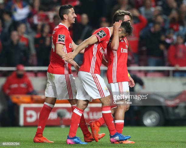 Benfica forward from Brazil Jonas celebrates with teammates after scoring a goal during the Primeira Liga match between SL Benfica and CF Os...