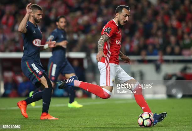 Benfica forward from Greece Kostas Mitroglou in action during the Primeira Liga match between SL Benfica and CF Os Belenenses at Estadio da Luz on...