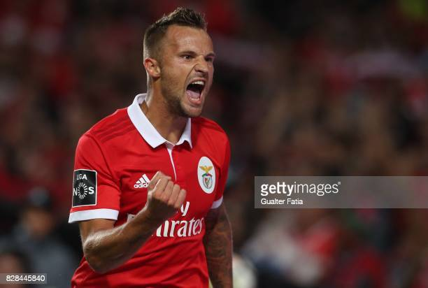 Benfica forward Haris Seferovic from Switzerland celebrates after scoring a goal during the Primeira Liga match between SL Benfica and SC Braga at...