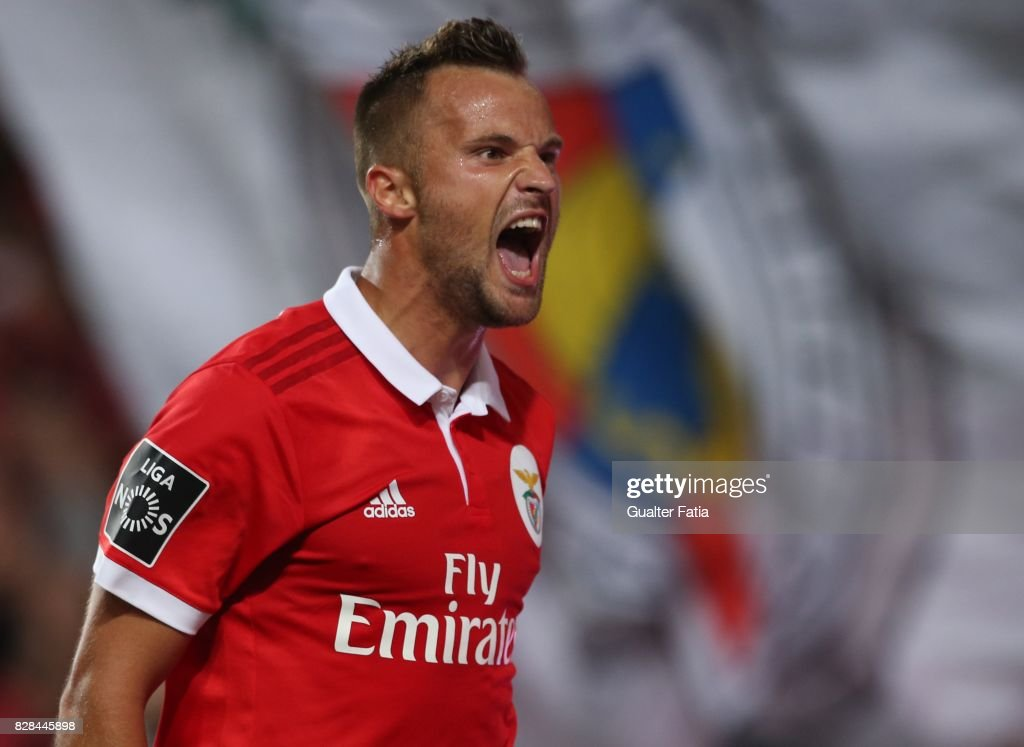 SL Benfica forward Haris Seferovic from Switzerland celebrates after scoring a goal during the Primeira Liga match between SL Benfica and SC Braga at Estadio da Luz on August 9, 2017 in Lisbon, Portugal.