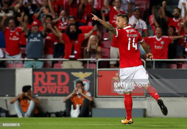 Benfica forward Haris Seferovic from Switzerland celebrates after scoring a goal during the Primeira Liga match between SL Benfica and CF Os...