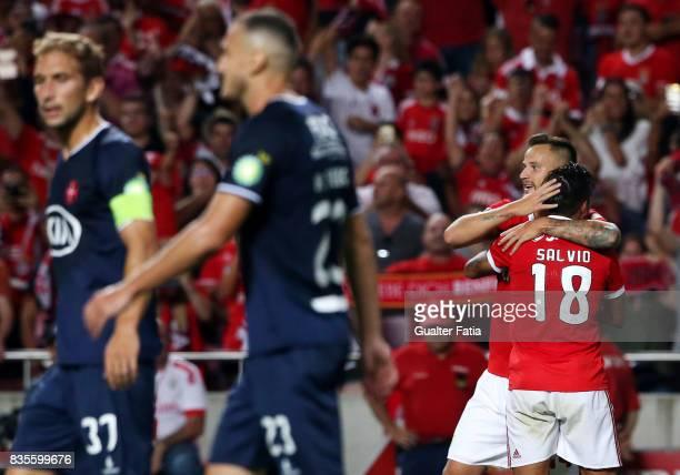 Benfica forward Haris Seferovic from Switzerland celebrates with teammate SL Benfica forward Eduardo Salvio from Argentina after scoring a goal...