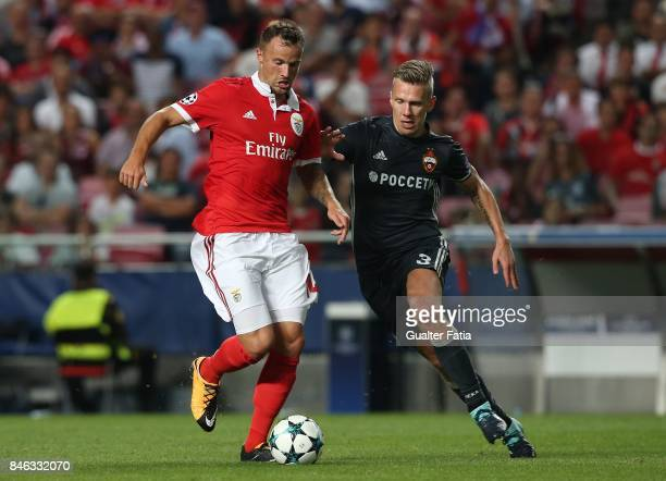 Benfica forward Haris Seferovic from Switzerland with CSKA Moskva«s midfielder Pontus Wernbloom from Sweden in action during the UEFA Champions...