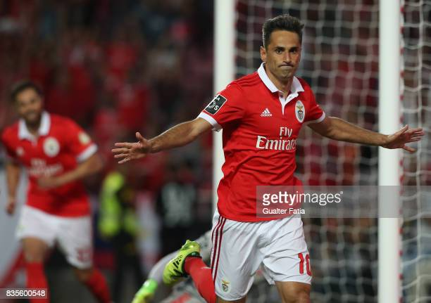 Benfica forward Jonas from Brazil celebrates after scoring a goal during the Primeira Liga match between SL Benfica and CF Os Belenenses at Estadio...