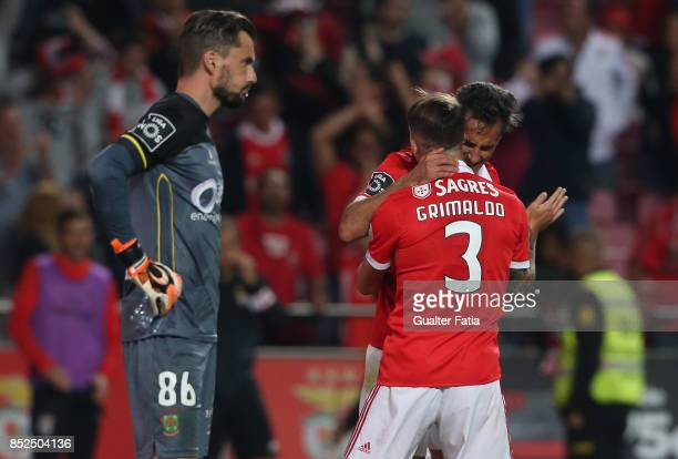 Benfica forward Jonas from Brazil celebrates with teammate SL Benfica defender Alejandro Grimaldo from Spain after scoring a goal during the Primeira...