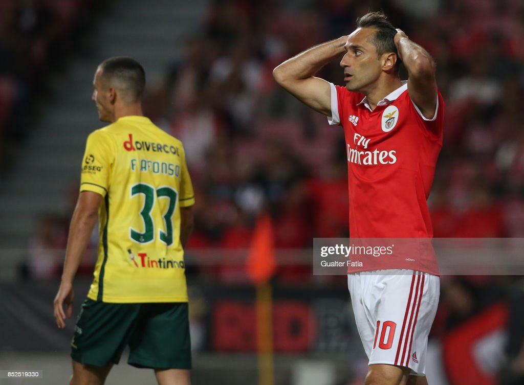 SL Benfica forward Jonas from Brazil reaction after missing a goal opportunity during the Primeira Liga match between SL Benfica and FC Pacos de Ferreira at Estadio da Luz on September 23, 2017 in Lisbon, Portugal.