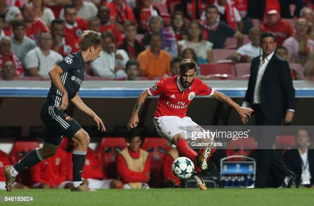 Benfica forward Rafa Silva from Portugal with CSKA Moskva midfielder Konstantin Kuchaev from Russia in action during the UEFA Champions League match...