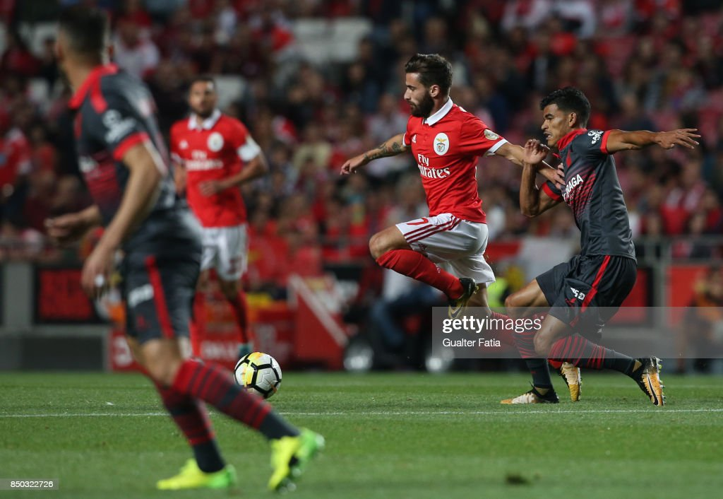 SL Benfica forward Rafa Silva from Portugal with SC Braga midfielder Danilo Silva from Brazil in action during the Portuguese League Cup match between SL Benfica and SC Braga at Estadio da Luz on September 20, 2017 in Lisbon, Portugal.