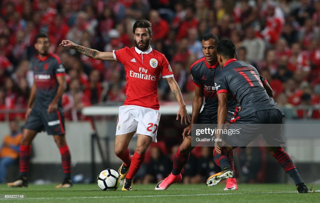 SL Benfica forward Rafa Silva from Portugal with SC Braga midfielder Fransergio from Brazil in action during the Portuguese League Cup match between SL Benfica and SC Braga at Estadio da Luz on September 20, 2017 in Lisbon, Portugal.