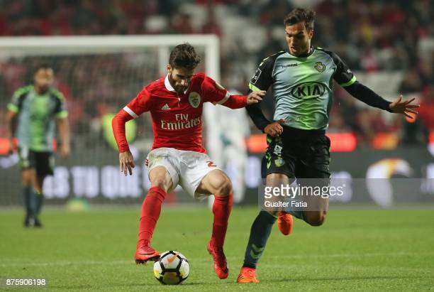Benfica forward Rafa Silva from Portugal with Vitoria Setubal midfielder Tomas Podstawski from Portugal in action during the Portuguese Cup match...