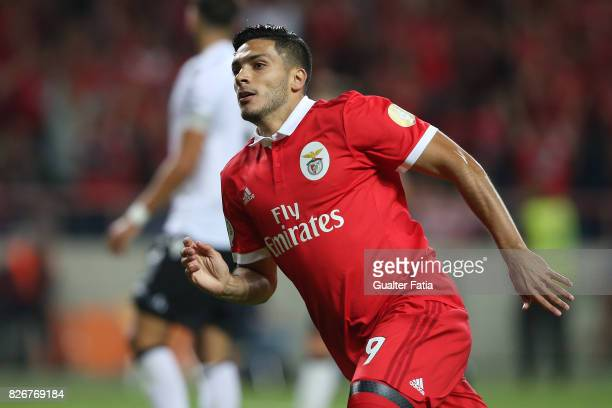 Benfica forward Raul Jimenez from Mexico celebrates after scoring a goal during the SuperTaca match between SL Benfica and Vitoria Guimaraes at...