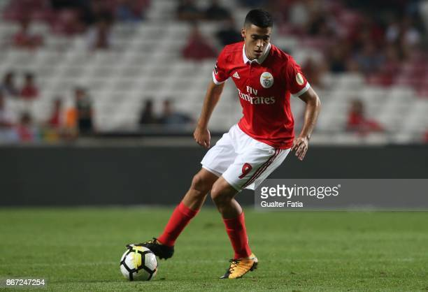 Benfica forward Raul Jimenez from Mexico in action during the Primeira Liga match between SL Benfica and CD Feirense at Estadio da Luz on October 27...