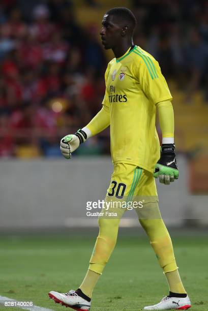 Benfica goalkeeper Bruno Varela from Portugal in action during the SuperTaca match between SL Benfica and Vitoria Guimaraes at Estadio Municipal de...