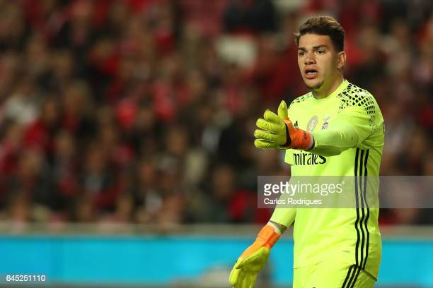 Benfica goalkeeper Ederson Moares from Brasil reacts during the match between SL Benfica and GD Chaves for the Portuguese Primeira Liga at Estadio da...