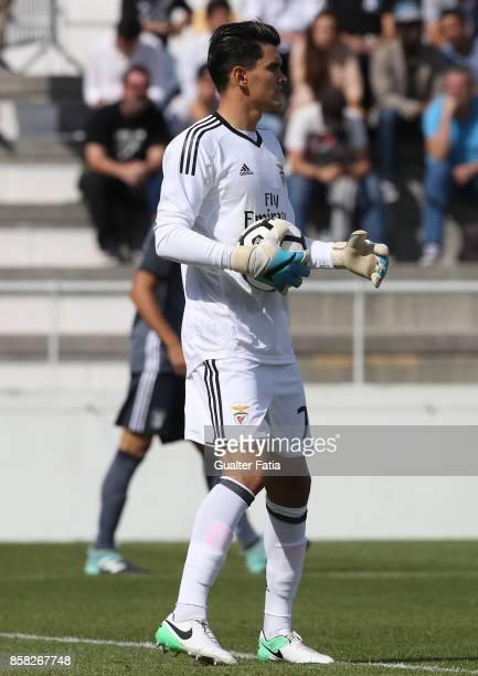Benfica goalkeeper Ivan Zlobin from Russia in action during the Segunda Liga match between CD Cova da Piedade and SL Benfica B at Estadio Municipal...