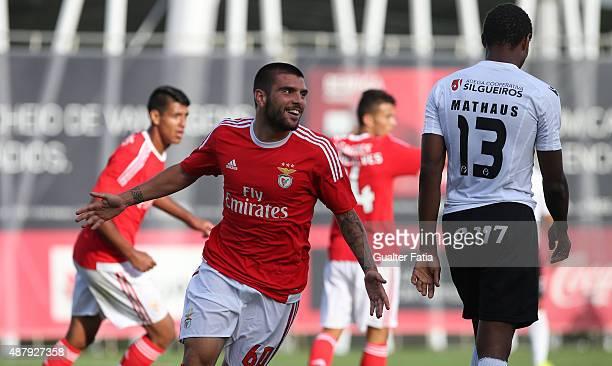 Benfica II's defender Pedro Rebocho celebrates after scoring a goal during the Primeira Liga match between SL Benfiva II and Academica de Viseu at...