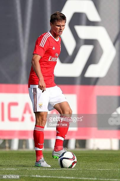 Benfica II's defender Vitalii Lystcov in action during the Primeira Liga match between SL Benfiva II and Academica de Viseu at Caixa Futebol Campus...