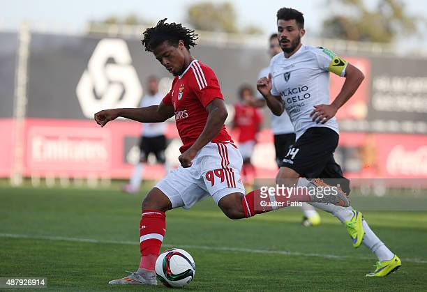 Benfica II's forward Hildeberto Pereira in action during the Primeira Liga match between SL Benfiva II and Academica de Viseu at Caixa Futebol Campus...