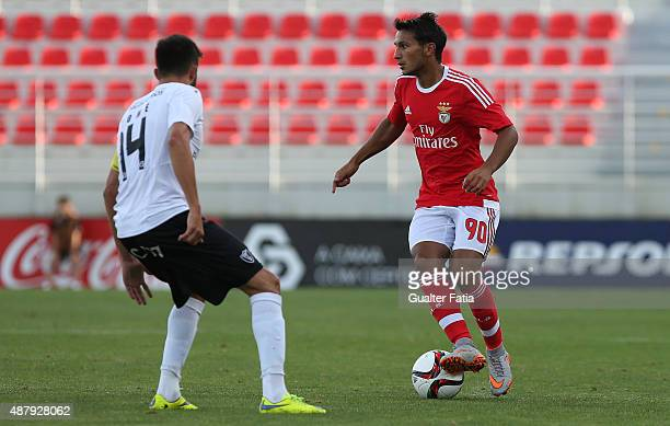 Benfica II's forward Joao Carvalho in action during the Primeira Liga match between SL Benfiva II and Academica de Viseu at Caixa Futebol Campus on...