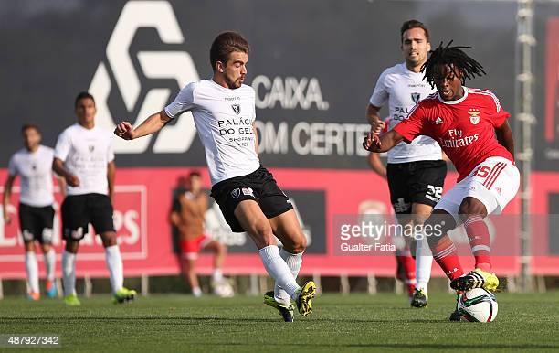Benfica II's midfielder Renato Sanches with Academica de Viseu's midfielder Joao Ricardo in action during the Primeira Liga match between SL Benfiva...