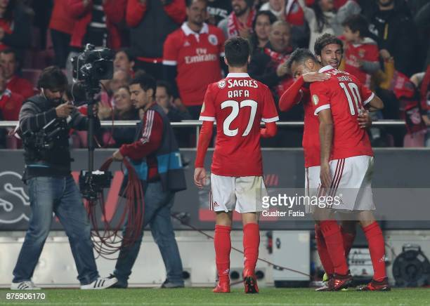Benfica midfielder Filip Krovinovic from Croatia celebrates with teammates after scoring a goal during the Portuguese Cup match between SL Benfica...