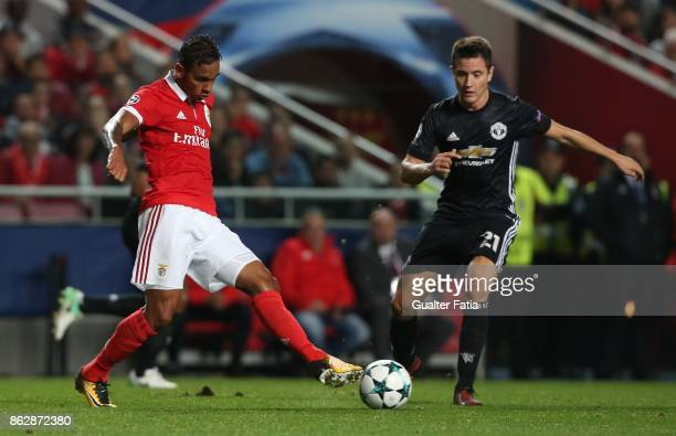 Benfica midfielder Filipe Augusto from Brazil in action during the UEFA Champions League match between SL Benfica and Manchester United FC at Estadio...