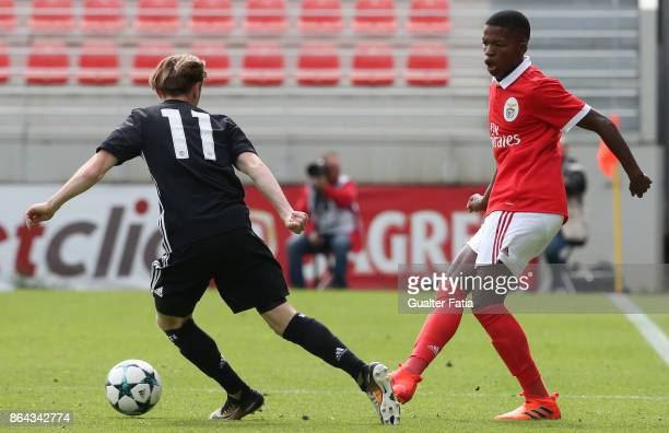 Benfica midfielder Florentino with Manchester United FC midfielder Indy Boonen in action during the UEFA Youth League match between SL Benfica and...
