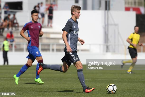 Benfica midfielder Keaton Parks from United States of America in action during the Segunda Liga match between CD Cova da Piedade and SL Benfica B at...