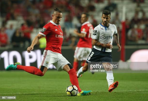Benfica midfielder Ljubomir Fejsa from Serbia with CD Feirense midfielder Tiago Silva from Portugal in action during the Primeira Liga match between...