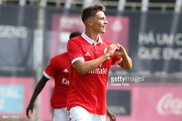 Benfica midfielder Nuno Santos celebrates after scoring a goal during the UEFA Youth League match between SL Benfica and Manchester United FC at...