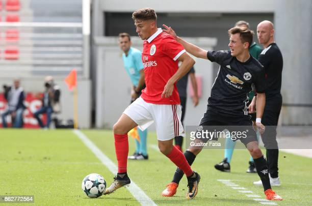 Benfica midfielder Nuno Santos in action during the UEFA Youth League match between SL Benfica and Manchester United FC at Caixa Futebol Campus on...