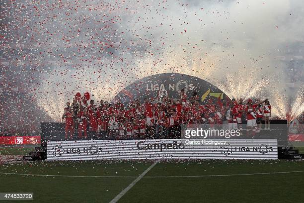 Benfica players celebrating receving the trophy of champions during the Primeira Liga match between SL Benfica and Maritimo at Estadio da Luz on May...