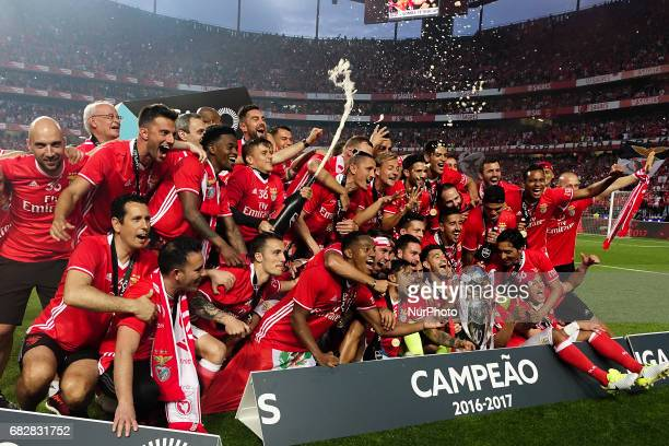 Benfica players celebrating their victory in the Portuguese League at Luz Stadium in Lisbon on May 13 2017 Benfica wins the title for the 36th time