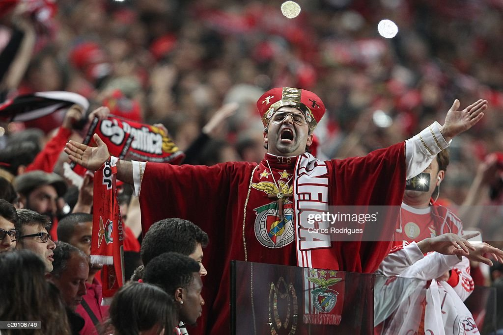 Benfica supporters celebrating scored Benfica's goal scored by Benfica's defender Jardel Vieira during the match between SL Benfica and Vitoria de Guimaraes for Portuguese Primeira Liga at Estadio da Luz on April 29, 2016 in Lisbon, Portugal.
