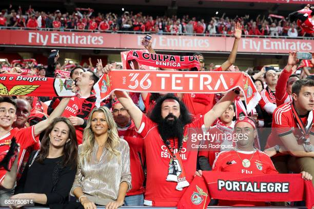 Benfica supporters celebrating the tetra title with his team mates after the match between SL Benfica and Vitoria SC for the Portuguese Primeira Liga...