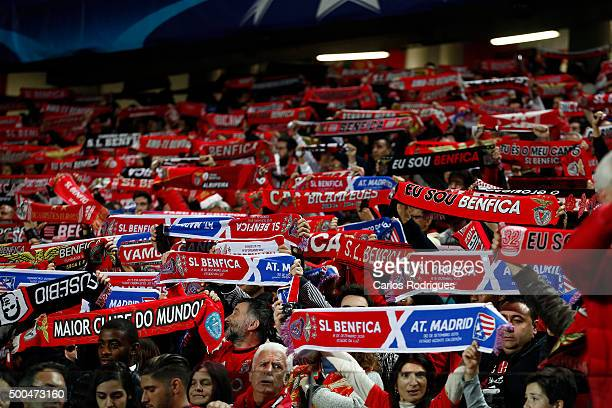 Benfica supporters during the match between SL Benfica and Club Atletico de Madrid for the UEFA Champions League at Estadio da Luz on December 08...