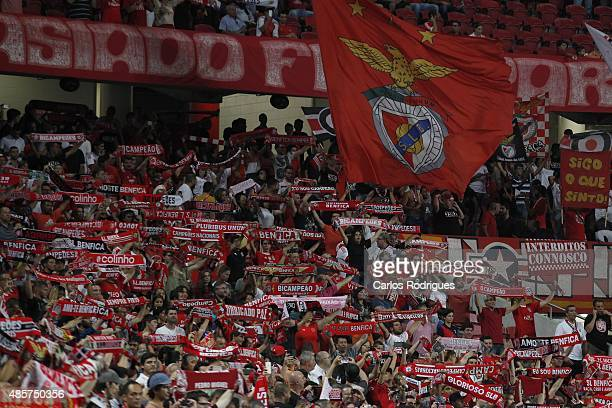 Benfica supporters during the match between SL Benfica and Moreirense FC at Estadio da Luz on August 29 2015 in Lisbon Portugal
