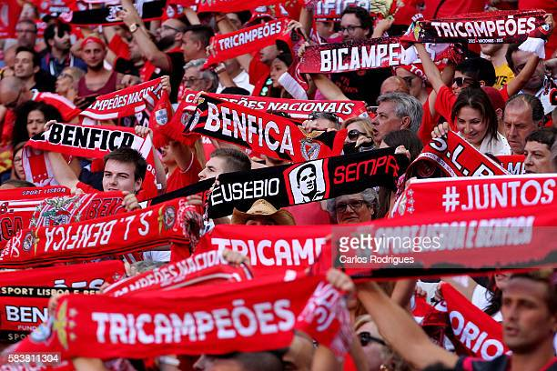 Benfica supporters during the match between SL Benfica and Torino for the Eusebio Cup at Estadio da Luz on July 27 2016 in Lisbon Portugal