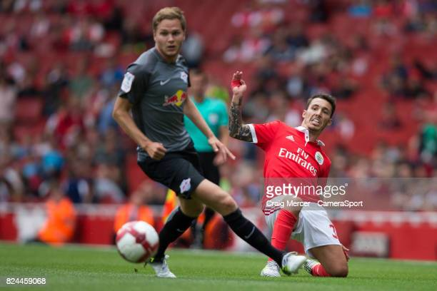 Benficas Alex Grimaldo in action during the Emirates Cup match between RB Leipzig and SL Benfica at Emirates Stadium on July 30 2017 in London England