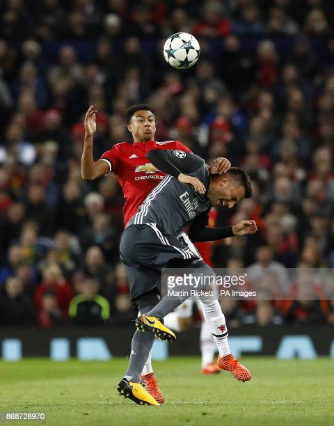 Benfica's Andreas Samaris and Manchester United's Jesse Lingard battle for the ball during the UEFA Champions League Group A match at Old Trafford...