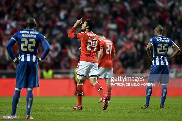Benfica's Argentine defender Ezequiel Garay celebrates after scoring a goal against FC Porto during the Portuguese league football match SL Benfica...