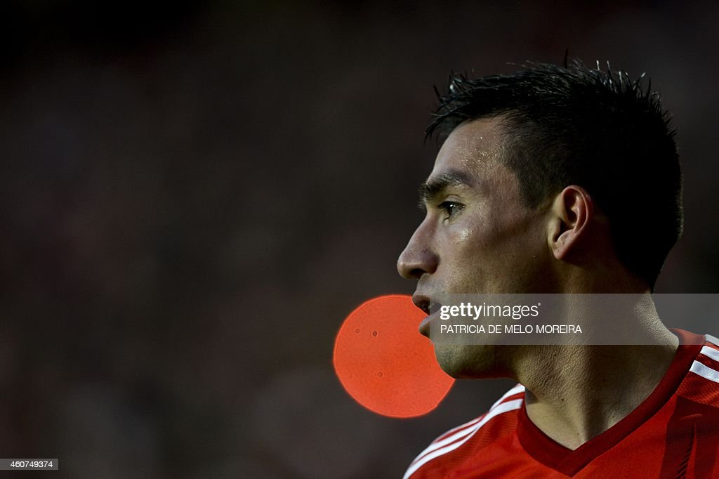 Benfica's Argentine midfielder <a gi-track='captionPersonalityLinkClicked' href=/galleries/search?phrase=Nicolas+Gaitan&family=editorial&specificpeople=5538639 ng-click='$event.stopPropagation()'>Nicolas Gaitan</a> looks on during the Portuguese league football match SL Benfica vs Gil Vicente at Luz stadium in Lisbon on December 21, 2014.