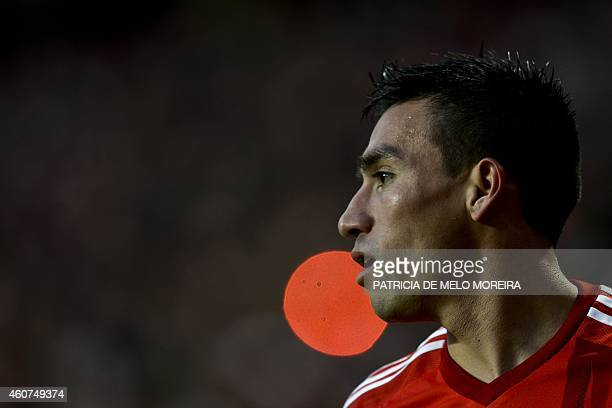 Benfica's Argentine midfielder Nicolas Gaitan looks on during the Portuguese league football match SL Benfica vs Gil Vicente at Luz stadium in Lisbon...