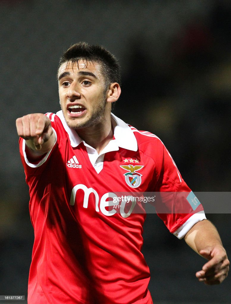 Benfica's Argentine midfielder Salvio reacts during the Portuguese league football match Nacional vs Benfica at Madeira stadium in Funchal on February 10, 2013.
