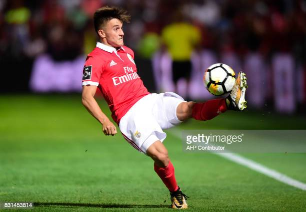 Benfica's Argentinian defender Franco Cervi controls the ball during the Portuguese league football match between GD Chaves and SL Benfica at the...