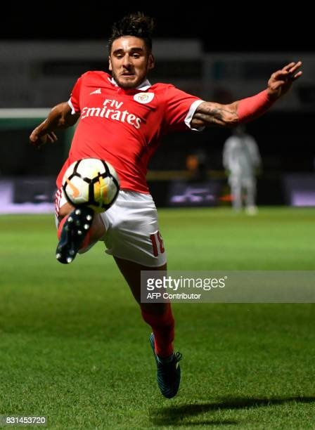 Benfica's Argentinian forward Eduardo Salvio tries to control the ball during the Portuguese league football match between GD Chaves and SL Benfica...
